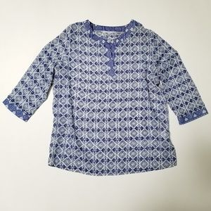 Annalee + Hope Blue Tunic 3/4 Sleeve Blouse